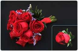 12 rose bouquet and boutonierre Photo for website